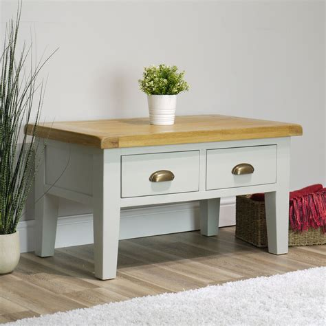 Contemporary coffee table lapped chipboard with dark brown paper wood effect veneer two drawers and two open storage areas Arklow Painted Oak Coffee Table / Grey 2 Drawer Storage Unit / Living Room 737278926847 | eBay