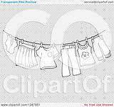 Clothes Laundry Drying Air Clipart Line Background Illustration Lineart Royalty Vector Visekart Clip Transparent sketch template
