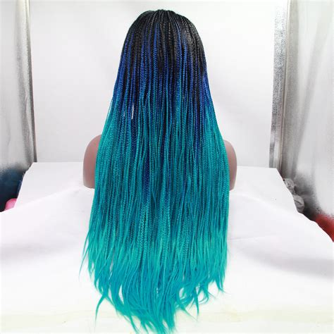 Fashion Weaved Braided Blue fashion blue ombre braided lace front wig for black