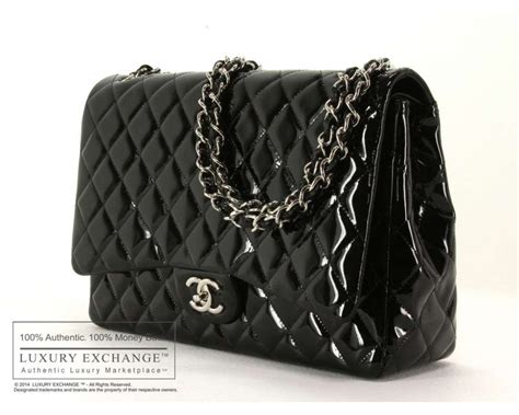authentic chanel patent leather maxi flap bag black