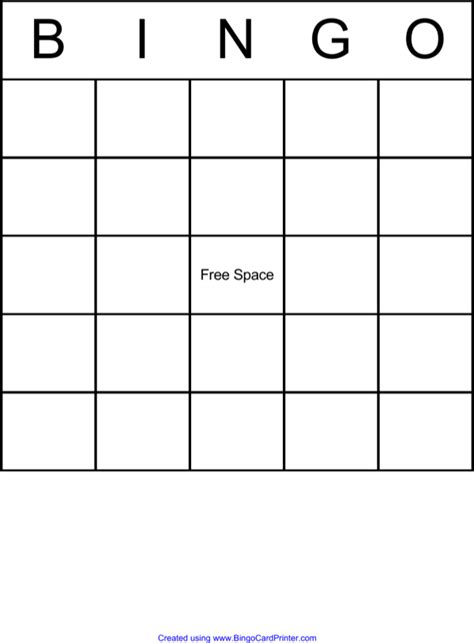 simple blank bingo board    formtemplate