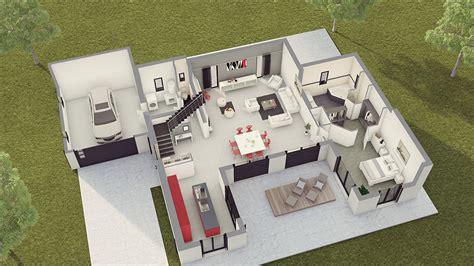 plan maison 2 chambres plain pied maison contemporaine loft 2 maison laure constructeur