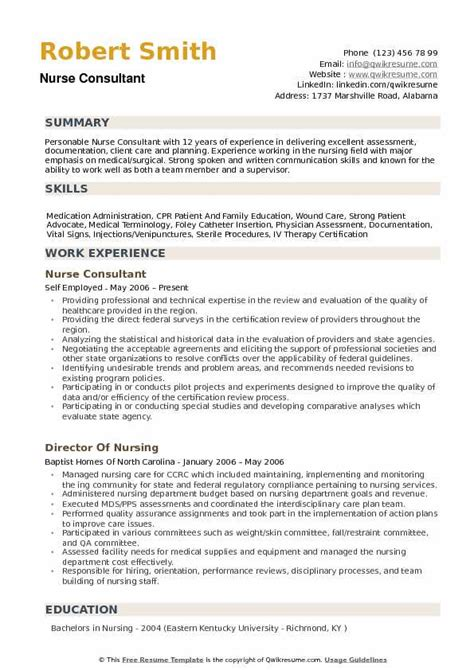 Start your new career right now! Nurse Consultant Resume Samples | QwikResume