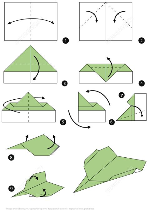origami paper plane step  step