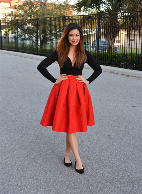 Raspberry Jam Outfit 157 - Red Pleated Midi Skirt