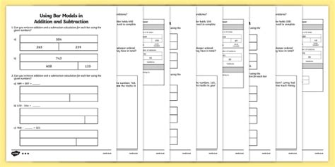 bar modelling addition and subtraction worksheet activity