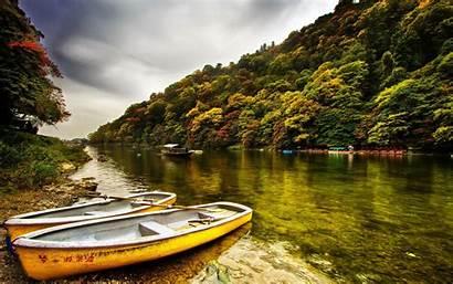 China River Boat Yellow Wallpapers Desktop