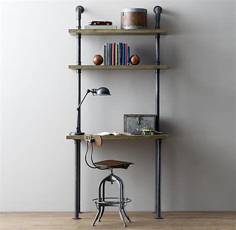 desk and shelving unit industrial pipe desk and shelving stylishly industrious