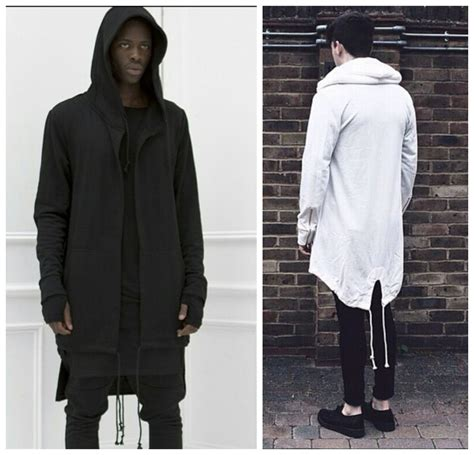 Mens big and tall clothing hip hop hooded jacket owens black white side extended longline hoodie ...