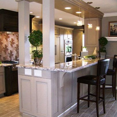 narrow kitchen cabinet galley kitchen with bar separating dining room design 1034