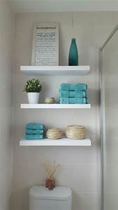 12 clever bathroom storage ideas hgtv shelves photo With kitchen cabinets lowes with moss wall art diy