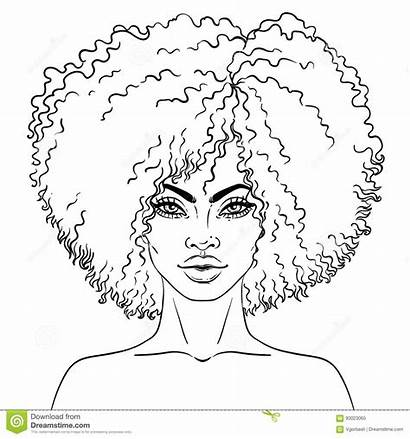 Coloring African American Woman Pretty Illustration Pages