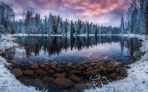 Finland, Nature, Landscape, Winter, Snow, Morning, Sunrise, Forest, Lake, Reflection, Transparent, Water