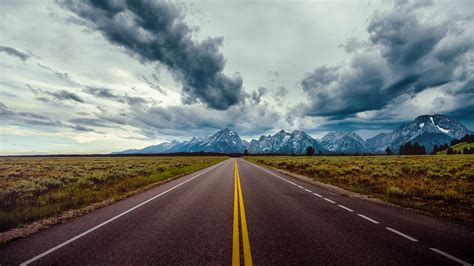 wallpaper road sky clouds mountains  nature