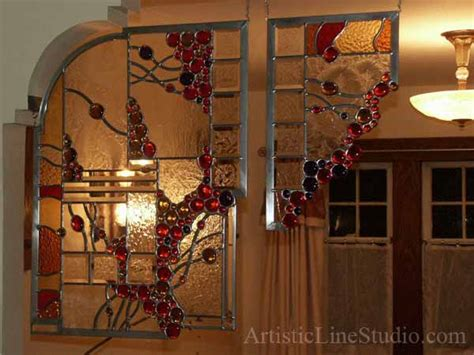 contemporary style abstarct stained leaded glass suspended