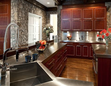 kitchen with cherry wood floors stone look panels paint colors with cherry cabinets kitchens with cherry cabinets and wood