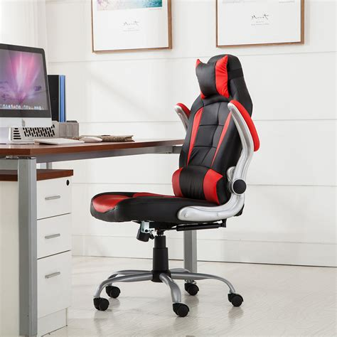 racing office chair reclining back padded headrest pu