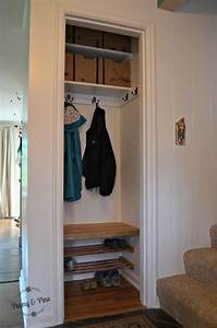 coat closet turned into an entry way quot mini mudroom