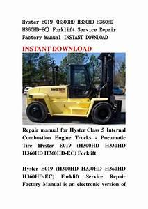 Hyster E019  H300hd H330hd H360hd H360hd