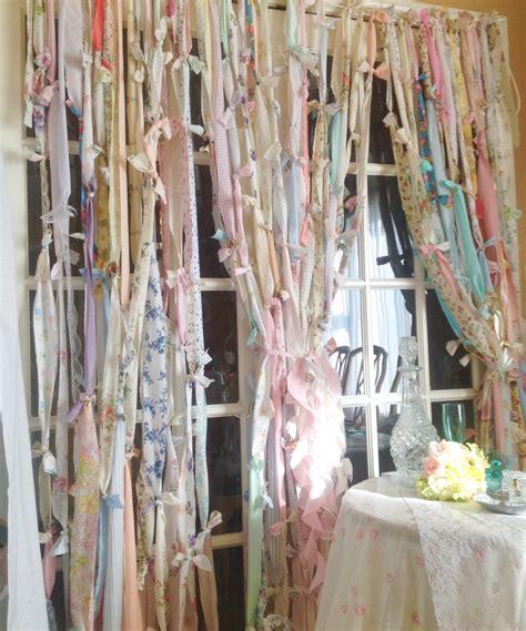 Rag Curtains Boho Garland Rustic Boho Curtain Shabby Chic