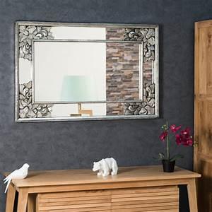 Miroir de décoration en bois massif : Mathilde, carré, bois patiné, argent, D: 1 m 10 x 70 cm