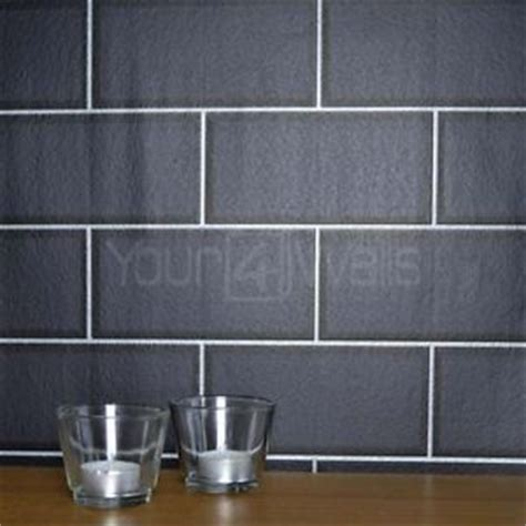 silver grout metro tile ceramic brick tile effect wallpaper in black with silver grout ebay