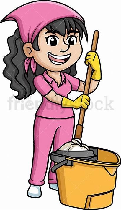 Mop Clipart Housekeeping Cartoon Clip Woman Squeezing