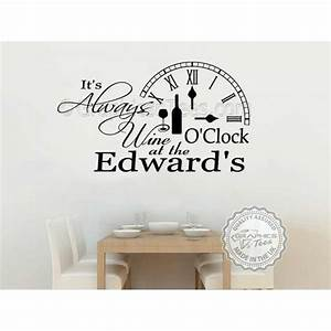 it39s always wine o39clock funny kitchen wall sticker With awesome wine decals for walls ideas