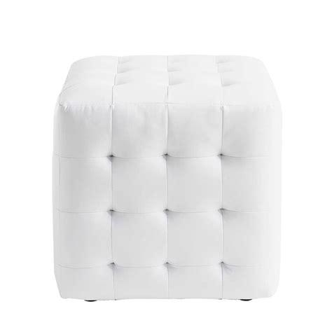 canapé chic pouf blanc capitonné chesterfield maisons du monde