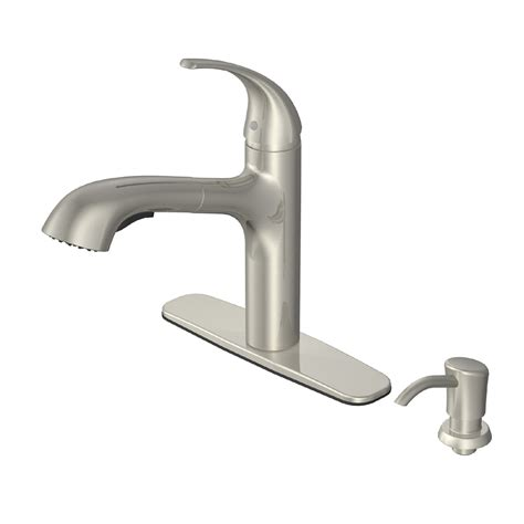 kitchen faucet nickel shop aquasource brushed nickel pull out kitchen faucet at lowes com