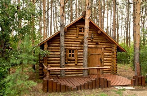 cabin house plans wooden house in the woods stock photo colourbox