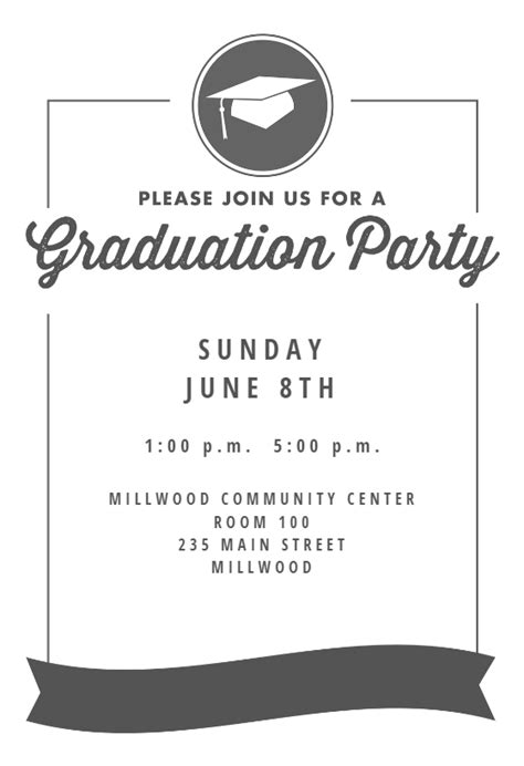 ribbon graduation graduation party invitation template