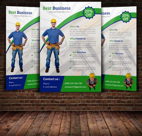 beautiful handyman flyer templates vector eps psd word