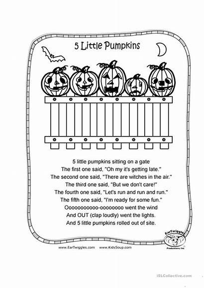 Pumpkins Coloring Halloween Pumpkin Five Printable Worksheets