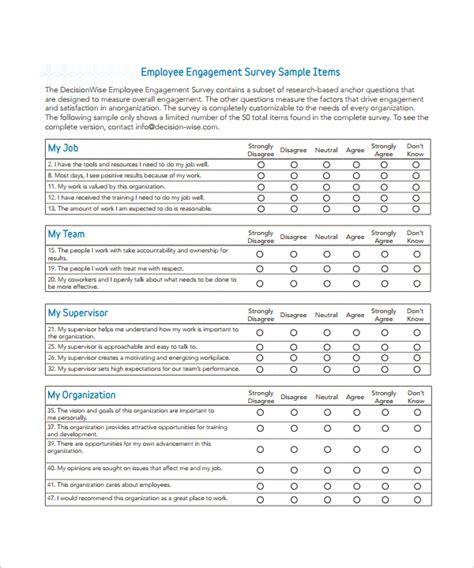 7 Employee Survey Templates For Free Sle Templates