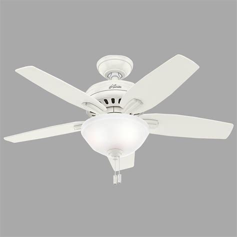 42 white ceiling fan with light hunter newsome 42 in indoor fresh white ceiling fan with