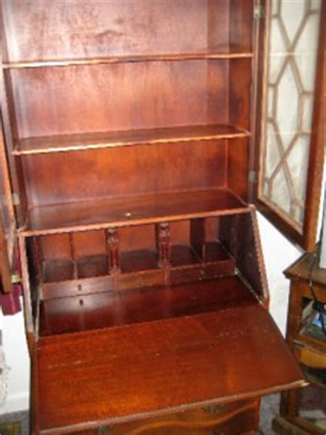 antique chippendale mahogany secretary desk with hutch and
