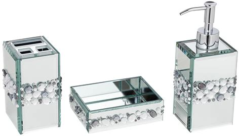 Jeweled Mirror-piece Bathroom Accessory Set