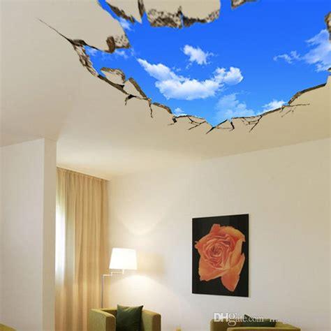 cracked blue sky wall art mural decor ceiling wall