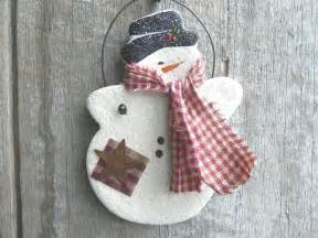 snowman salt dough christmas ornament by cookiedoughcreations