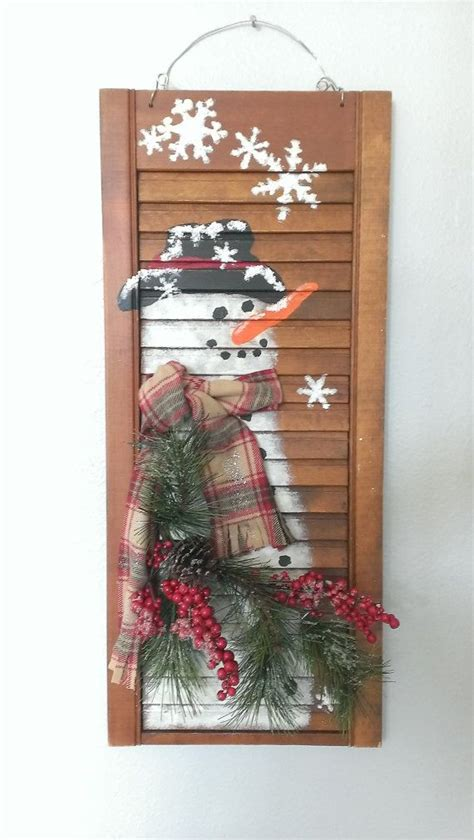 shabby chic shutter snowman holiday christmas winter