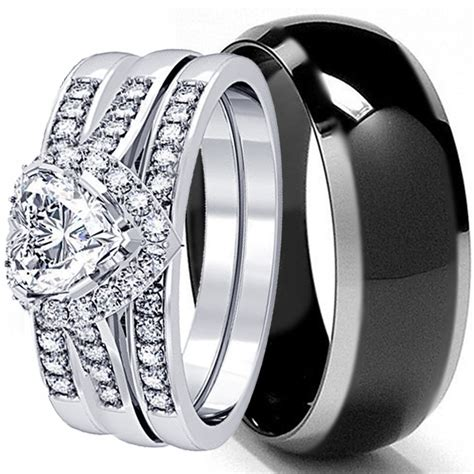 his and hers 4 pcs mens womens sterling silver black titanium wedding rings ebay