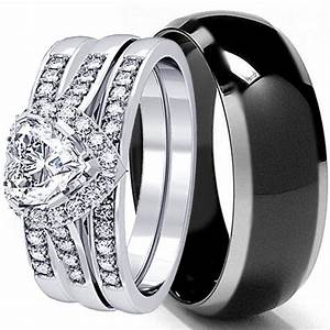 his and hers 4 pcs mens womens sterling silver black With womens black wedding rings