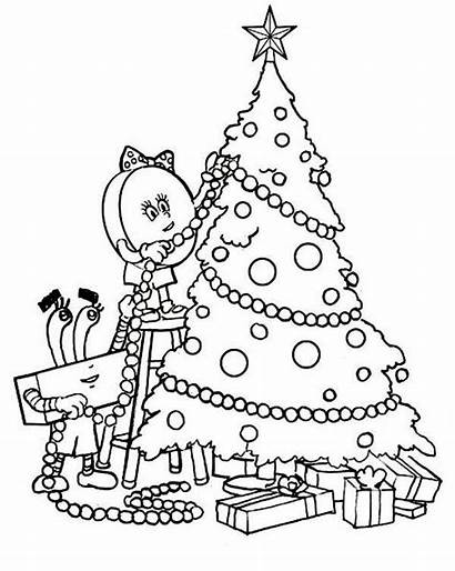 Coloring Tree Christmas Pages Decorating Decorate Printable