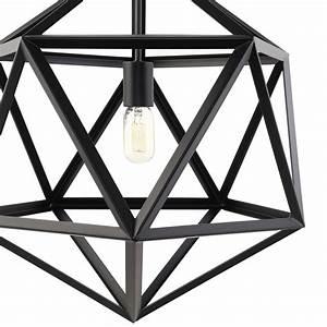 Hexagon, Black, Metal, Chandelier
