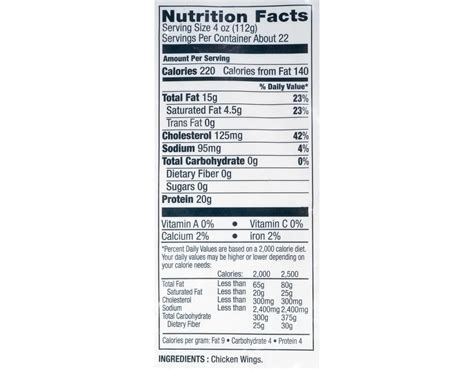 For actual quantity, refer to product title and description, if different from image. ventura99: Costco Chicken Wings Nutrition Value