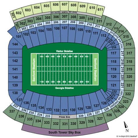 uga  seating chart sanford stadium