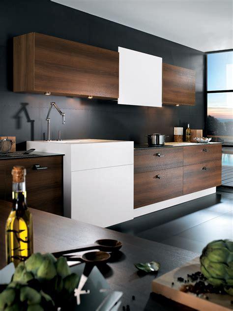 meuble de cuisine laqué cuisine m100h mélaminé noyer tabac et corian perene lyon