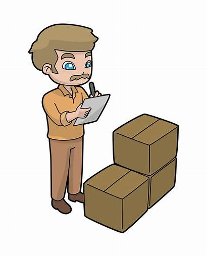 Cartoon Inventory Delivery Shipping Manager Checking Svg