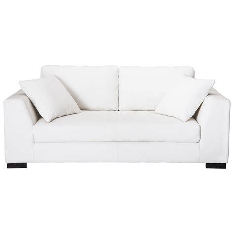 canape cuir blanc 2 places canap 233 cuir 2 3 places convertible blanc terence maisons du monde